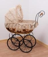 Плетеная ретро коляска для куклы из ротанга