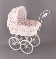 Плетеная ретро коляска для куклы